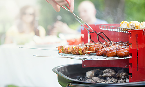 Grill kebabs, corn, and vegetables at your next family reunion or company picnic.