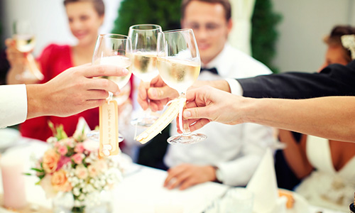 The wedding party says cheers to the new couple and clinks their glasses.
