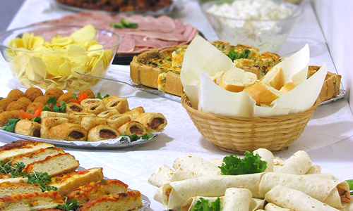 Display a table of snacks, appetizers, and game day favorites at your special event.