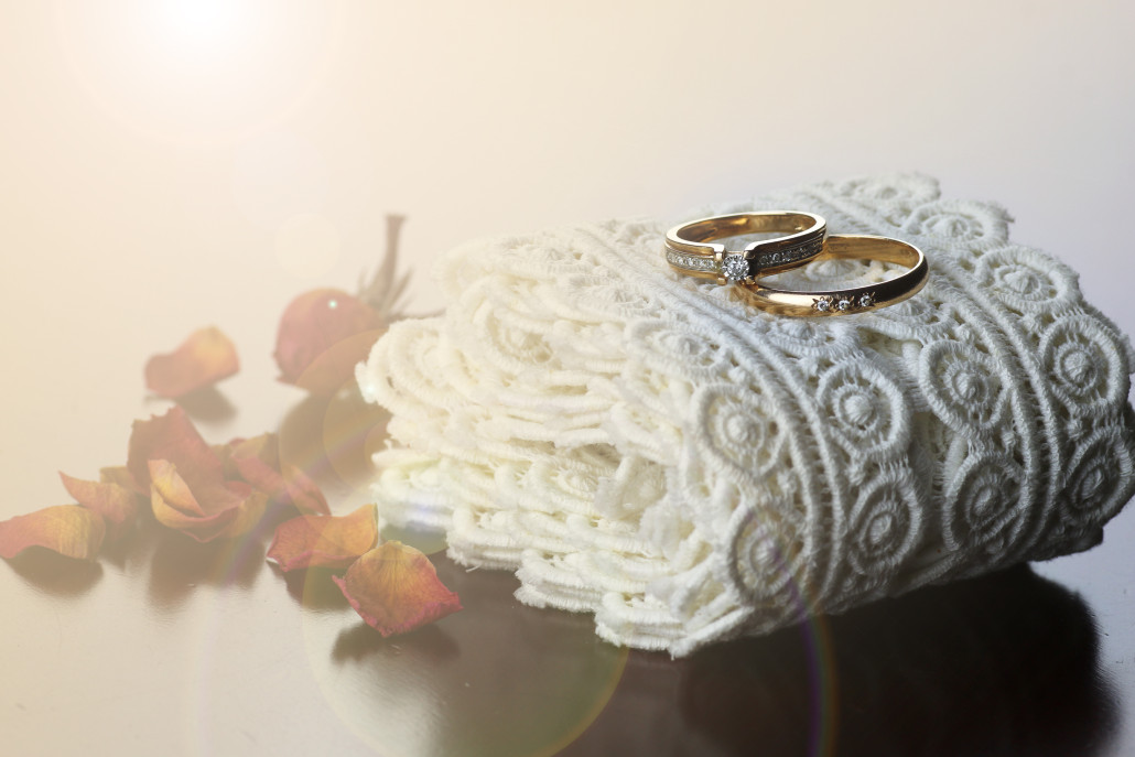 Wedding bands and lace.