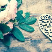 Bouquet of Flowers & Metal Heart