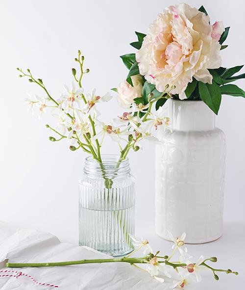 Prepared flowers for a modern, minimalist arrangement.