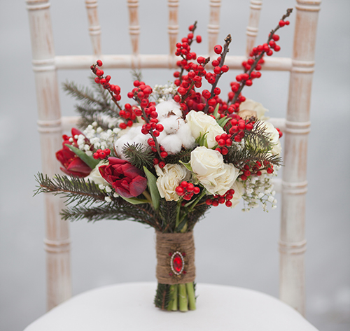 A floral design themed after winter is pictured here.